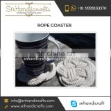 Quirky Design Fine Finish Hand Woven White Color Rope Coaster in Bulk