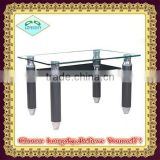 tempered glass and metal glass dining table