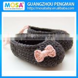 Boutique Crochet Baby Mary Janes, 0-24months Dark Brown Baby Girl Booties, Crochet Booties with Pink Bow and Strap