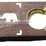 WOODEN BRASS INLAY ASHTRAY WITH CIGARETTE CASE