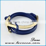 2017 Wholesale Leather half cuff mens anchor bracelets