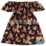 new black coral floral baby girl dress summer