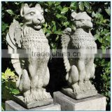Garden Antique Life Size Gothic Griffin Stone Lion Sculptures Pair