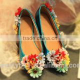 Shallow mouth flower round head flat heel wedding shoe of women shoe WS043