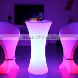 fashionable night club led table and chairs, rechargeable battery illuminated led furniture