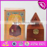 2017 Best sale pyramid design wooden incense burner box W02A258-S