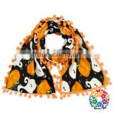 kids fashion halloween black orange pumpkin warm scarf