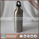 Stainless steel sport waterbottles 650 ml,silver color, keyring and cap style