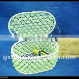 Green pearl and creamywhite iron frame storage home decorative box with lid