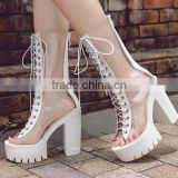 B22415A Ladies High-end temperament Cross bandage high-heeled boots transparent sandals