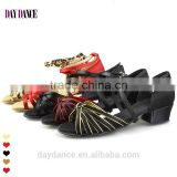 Girls Low Heel Colorful Satin Latin Ballroom Dance Shoes
