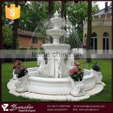 Welcomed garden large 3 tier white stone marble horse water fountain