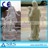 Pure white marble mother and child sculpture