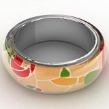 Color Stripe Pattern Jewelry Enamel Bracelet Bangle For Women