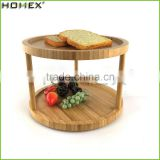 Bamboo 2 Tier Turning Spice Shelf/Revolving Spice Rack/Homex_FSC/BSCI Factory