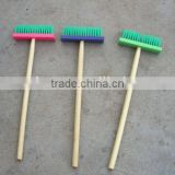 Floor plastic cleaning brush with long wooden handle
