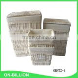 Delicate living room white wicker laundry basket with lid