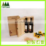 High quality natural wooden wine box 2 bottles packing wooden box