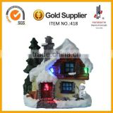 Polyresin craft Christmas house with LED light
