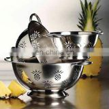 new hot selling stainless steel colander with wood hand