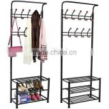 metal 18 hanger hooks clothes coat stand shoes hats bags stand rack (black)