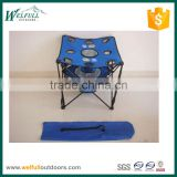 Small foldable camping picnic table with 9 cup holders and cooler bags