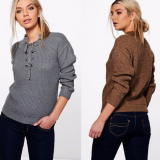 Women Lace up Eyelet Ribbed Pullover Sweater