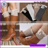 Women Fashion Knitted Short Leg Warmer With Lace Cotton Boot Cuffs