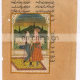 India Mughal Miniature Original Ethnic Mugal Harem Scene Painting Water Color Indian Art