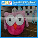 Girls Peachy Pink OWL Knitted Stuffed Doll With Ears,Handmade Baby Gift Display Ornament