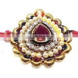 Exclusive Designer Red Stone Rakhi - Indian by Ratna Handicrafts India
