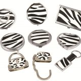Zebra PU gift set with cosmetic mirror card box handbag holder luggage tag