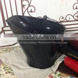 new design durable fireplace coal bucket powder coated black metal coal bucket