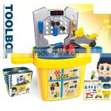 kids children plastic tool desk toy with light children toys tool bucket TT15050006