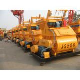 JS500 double axle concrete mixer horizontal twin shaft concrete mixer machine price