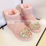 Aidocrystal Handmade cute rhinestone hello kity boots women comfortable winter shoes