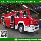Euro4 standard HOWO 8ton water foam tank fire fighting truck price to Laos
