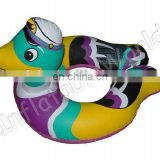 PVC inflatable duck shape swim ring for kids