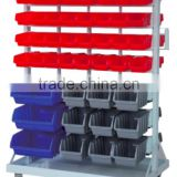 BR-001 88-bin double-sided rolling bin rack Bin Wall Mounted Parts Rack bin organizer with tray and casters bin rack storage