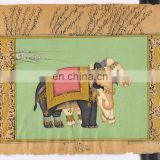 Royal Elephants Miniature Paper Painting Hand Painted Ethnic Wall Decor Hand Painted