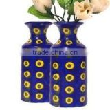New HAND CRAFTED ART BLUE POTTERY Ceramic FLOWER VASE POT INDIA