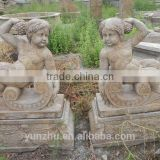 antique stone little angel sculpture for sale
