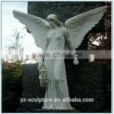 white marble life size winged angel statue for sale
