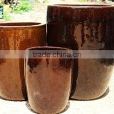 Brown ceramic flower pots