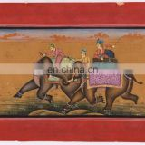 Mughal Miniature Mugal Battle Scene Painting Hand Painted Paper Water color Original Painting