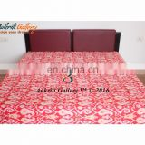 Indian Ikat paisley Print Twin Kantha Bedspread Quilt Indian Wholesale Handmade 100% cotton comforter Bedding