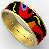 Wide 12mm Round Stainless Steel Gold Plated Enamel Bangle