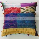 Vintage Kantha silk cushion cover Patchwork pillow cover