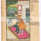 Indian Mughal Miniature Watercolor Original Wall Hanging Ethnic Mugal Harem Nude Art