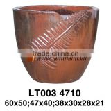 East Asia Brown Modern Pattern Outdoor Glazed Planter For Wholesalers